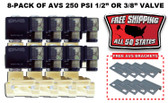 "8-PACK OF AVS 250 PSI 1/2"" OR 3/8"" VALVE WITH MOUNTING BRACKETS & FREE SHIPPING"