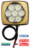 "(PAIR) 35w CREE LED, 3""x3""x2.5"" GOLD TRIM, 45 DEGREE FLOOD"