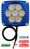 "(PAIR) 35w CREE LED, 3""x3""x2.5"" BLUE TRIM, 45 DEGREE FLOOD"