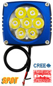 "(PAIR) 35w CREE LED, 3""x3""x2.5"" BLUE TRIM, 10 DEGREE SPOT"