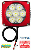"(PAIR) 35w CREE LED, 3""x3""x2.5"" RED TRIM, 45 DEGREE FLOOD"