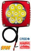"(PAIR) 35w CREE LED, 3""x3""x2.5"" RED TRIM, 10 DEGREE SPOT"