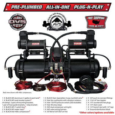 This is a 150 or 200-PSI all-in-one system that is pre-wired and pre-plumbed.  Includes a rustproof aluminum tank with TWO fast fill compressors, 4-corner manifold valve with a 7-switch controller, all mounted in one package that bolts into your vehicle with only FOUR bolts.