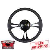 14 inch Powder Coated Black universal billet steering wheel with a black half wrap. The back side of the steering wheel has milled and polished finger notches. This steering wheel is 9 hole mounting pattern.