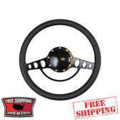 14 inch aluminum universal Black billet steering wheel with a black half wrap. The back side of the steering wheel has milled and polished finger notches. This steering wheel is 9 hole mounting pattern.