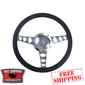 14 inch aluminum universal polished billet steering wheel with a black half wrap. The back side of the steering wheel has milled and polished finger notches. This steering wheel is 9 hole mounting pattern.
