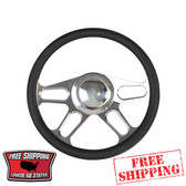 14 inch aluminum universal polished billet steering wheel with a black half wrap. The back side of the steering wheel has milled and polished finger notches. This steering wheel has a 9 hole mounting pattern.