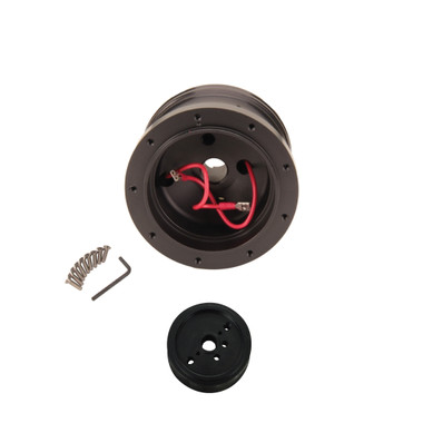 black powder coated billet steering wheel adapter hub vw. Black Bedroom Furniture Sets. Home Design Ideas