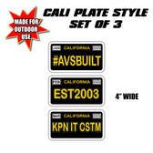 "AVS CALI PLATE SET OF 3  4"" WIDE OUTDOOR USE"