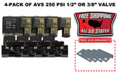 "4-PACK OF AVS 250 PSI 1/2"" OR 3/8"" VALVE WITH MOUNTING BRACKETS & FREE SHIPPING BLACK"