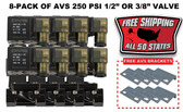 "8-PACK OF AVS 250 PSI 1/2"" OR 3/8"" VALVE WITH MOUNTING BRACKETS & FREE SHIPPING BLACK"