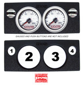 """AVS GAUGE PANEL WITH TWO 2"""" INCH GAUGE CUT OUTS AND TWO PUSH BUTTONS CUT OUTS P3"""