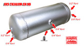 3-GALLON ALUMINUM TANK WITH 6 PORTS-SILVER  !! FREE DRAIN PORT FITTING !! NO BRACKET!!