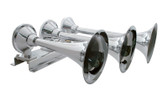 3 TRUMPET CHROME TRAIN HORN- LONG TRUMPET ON THE LEFT HAND SIDE