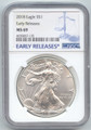 2018 American Silver Eagle, 1 Ounce, Oz, NGC Blue Early Release Label, MS-69