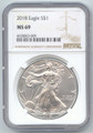2018 American Silver Eagle, 1 Ounce, Oz, NGC Brown Label, MS-69