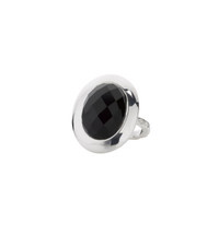 EMPIRE ONYX SHIELD RING - SILVER