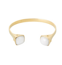 TWO TRIBES WHITE QUARTZ CUFF - GOLD