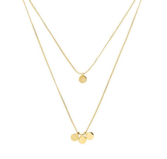 36118065561ff CHAKRAS DOUBLE CHAIN NECKLACE- GOLD