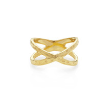 PATHS CROSSED HAMMERED RING - GOLD