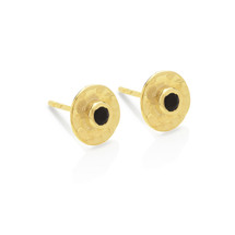HAMMERED STUD EARRINGS ONYX - GOLD