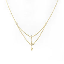 ENLIGHTEN TRI CRYSTAL NECKLACE - GOLD