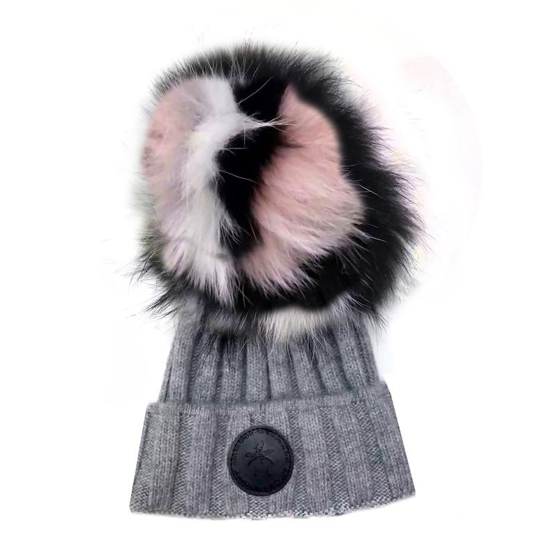 Game face Fur hat Grey / Pink Fur