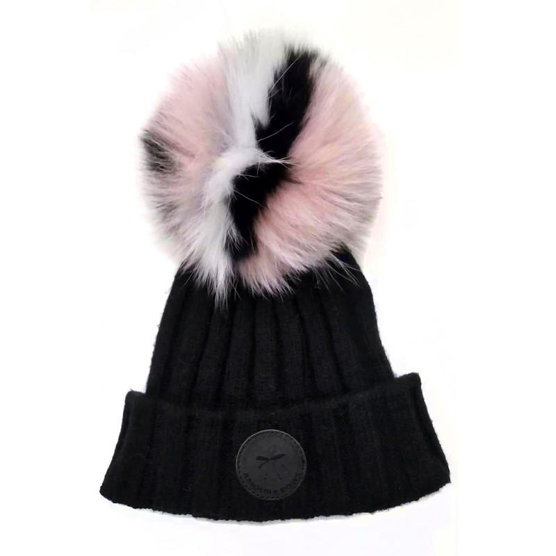 Game face Fur hat Black / Pink Fur