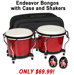 Endeavor Bongos with Bag and Shakers