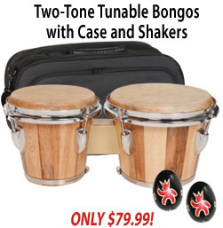 Two Tone Tunable Bongos with Bag and Shakers