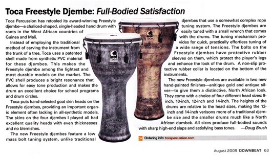 Toca Freestyle Djembe Article from Drumbeat Magazine