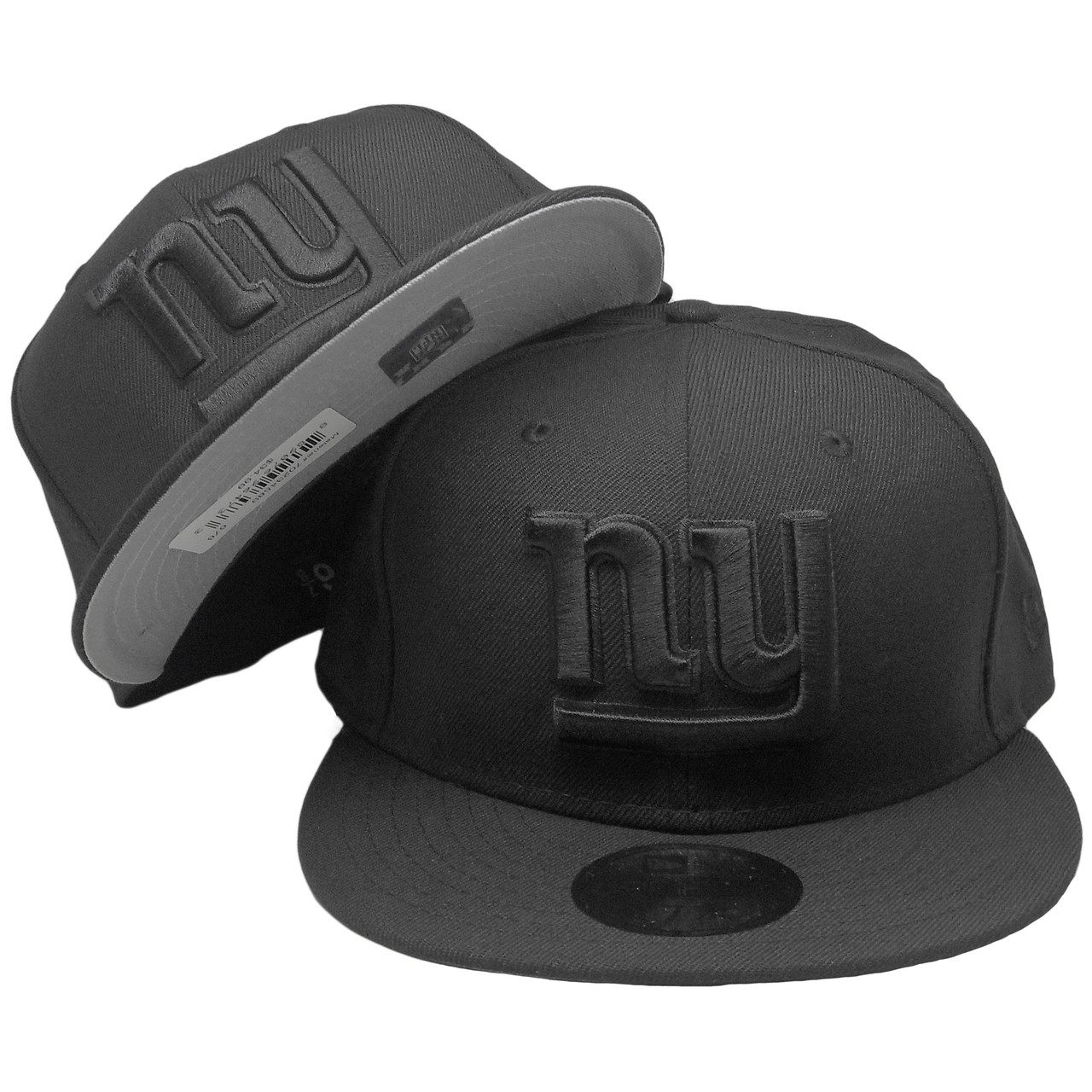 5caaa7df7c9 New York Giants New Era Custom 59Fifty Fitted Hat - All Black ...