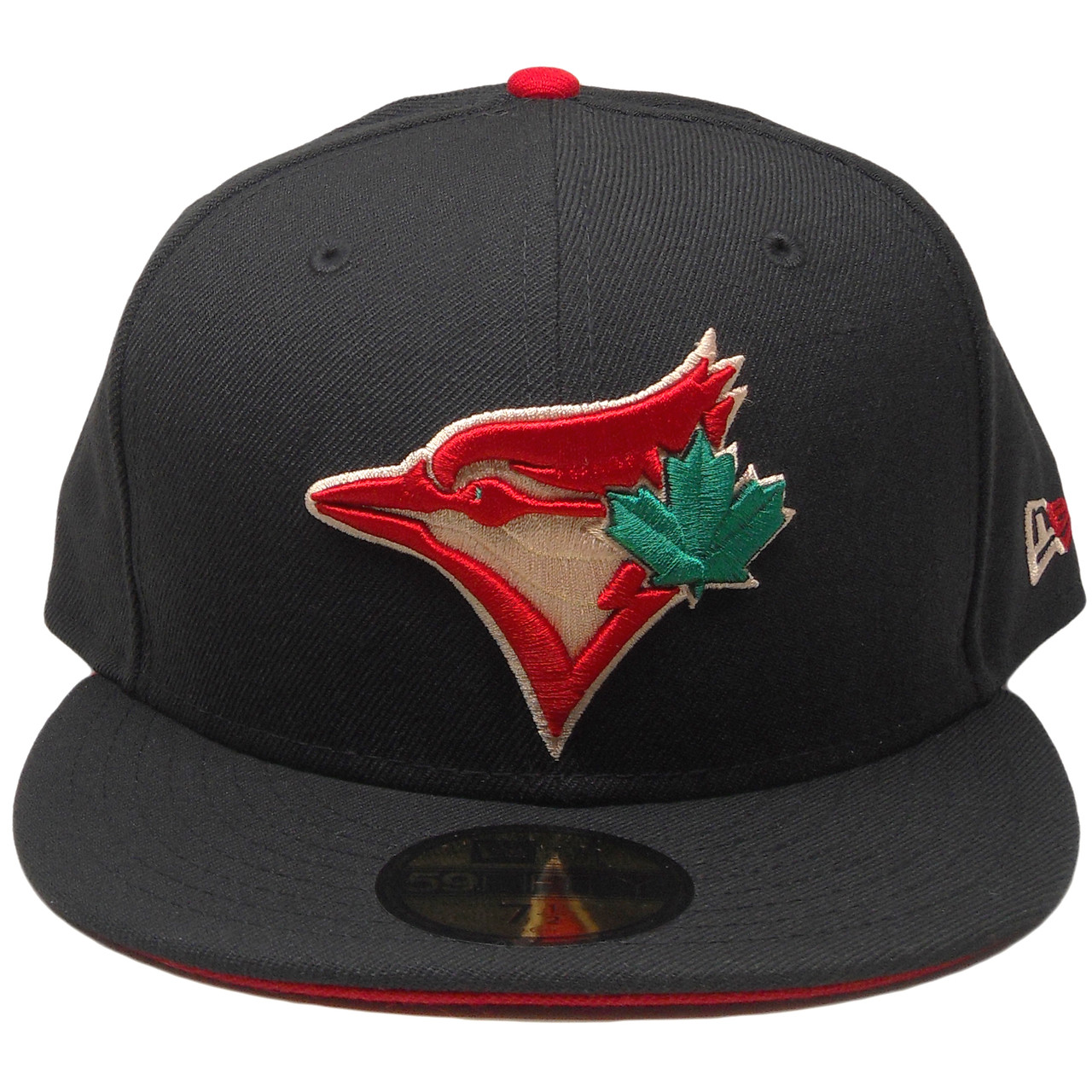 87f34286e3f ... authentic toronto blue jays new era 59fifty custom fitted hat black red  green. larger more ...