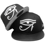 Eye Of Horus New Era Custom 59Fifty Fitted Hat - Black, Pebble Leather, White
