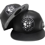 Brooklyn Nets New Era 59Fity Black Team Fitted Hat - Black Leather, White