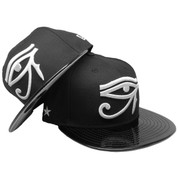 Eye of Horus Side Stars Custom 59Fifty Fitted - Black, Black Patent Leather, White