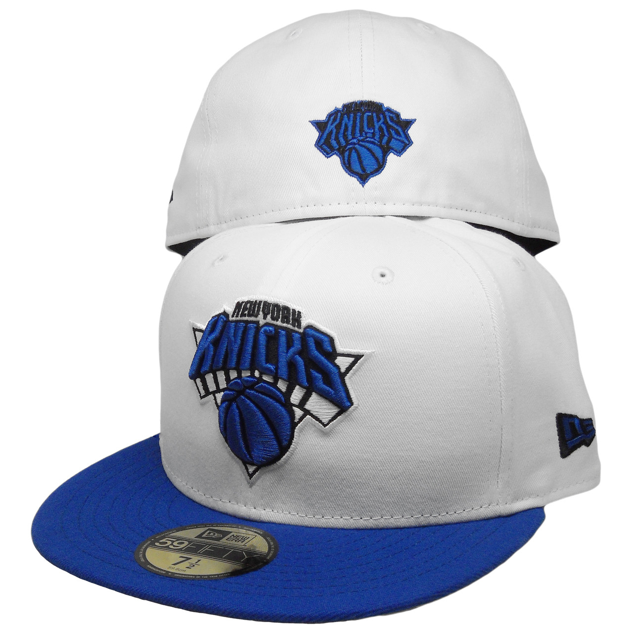 New York Knicks Custom New Era 59Fifty Fitted Hat - White 403135d36d3