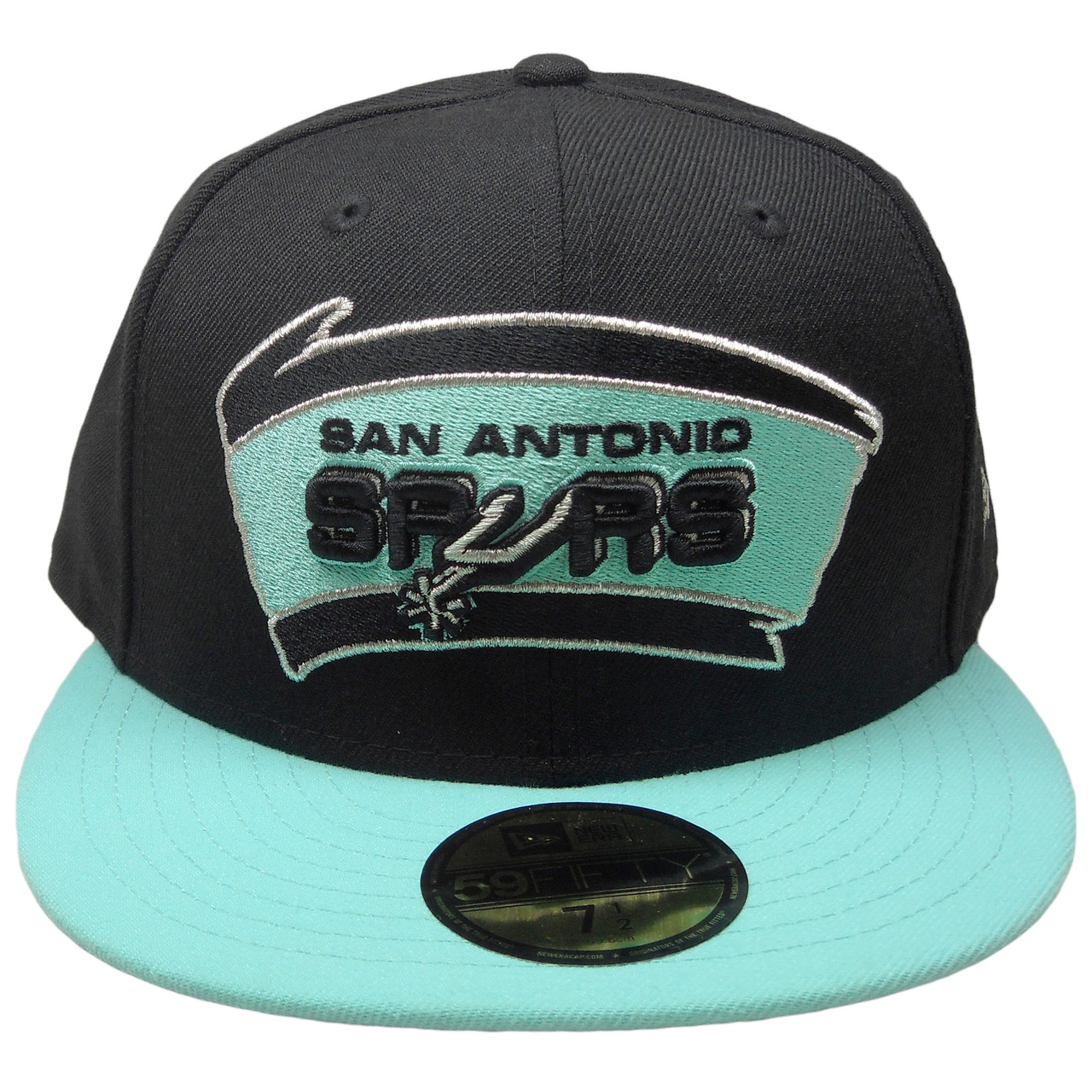 official photos d6ab6 0963e ... discount code for san antonio spurs custom new era 59fifty fitted black  mint green silver 0067a