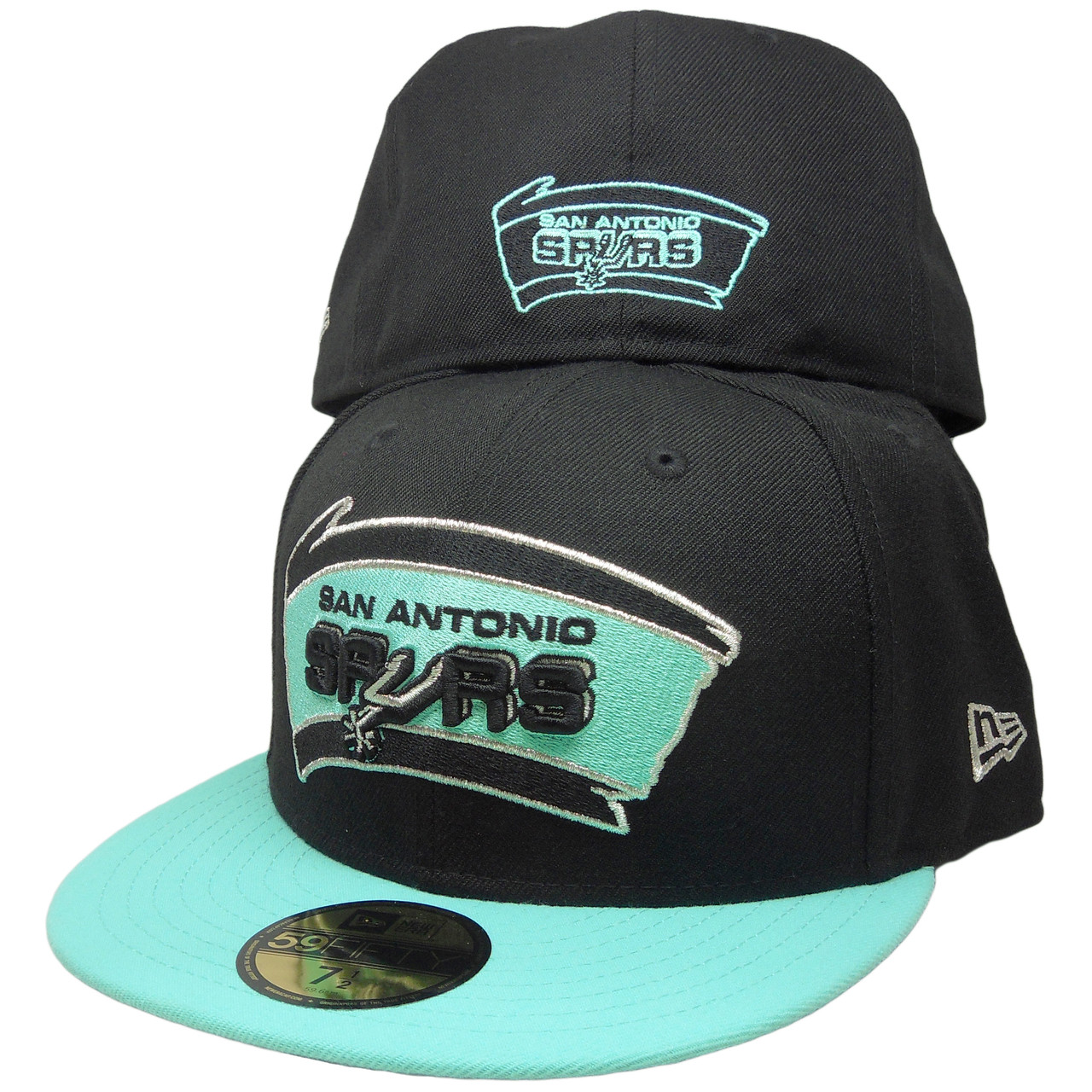 ... cheapest san antonio spurs custom new era 59fifty fitted black mint  green silver. larger more 53de7b410116