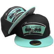 check out 022f1 a090a San Antonio Spurs Custom New Era 59Fifty Fitted - Black, Mint Green, Silver