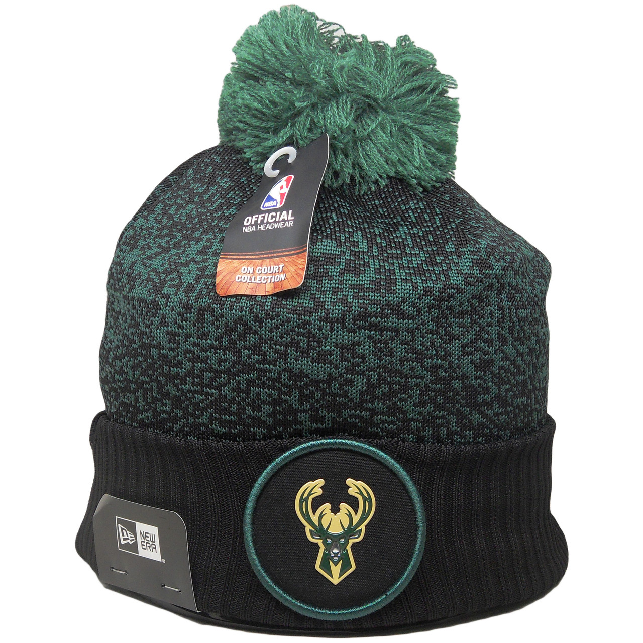 Milwaukee Bucks New Era On-Court Collection Pom Cuff Knit - Black ... 3f95cd000
