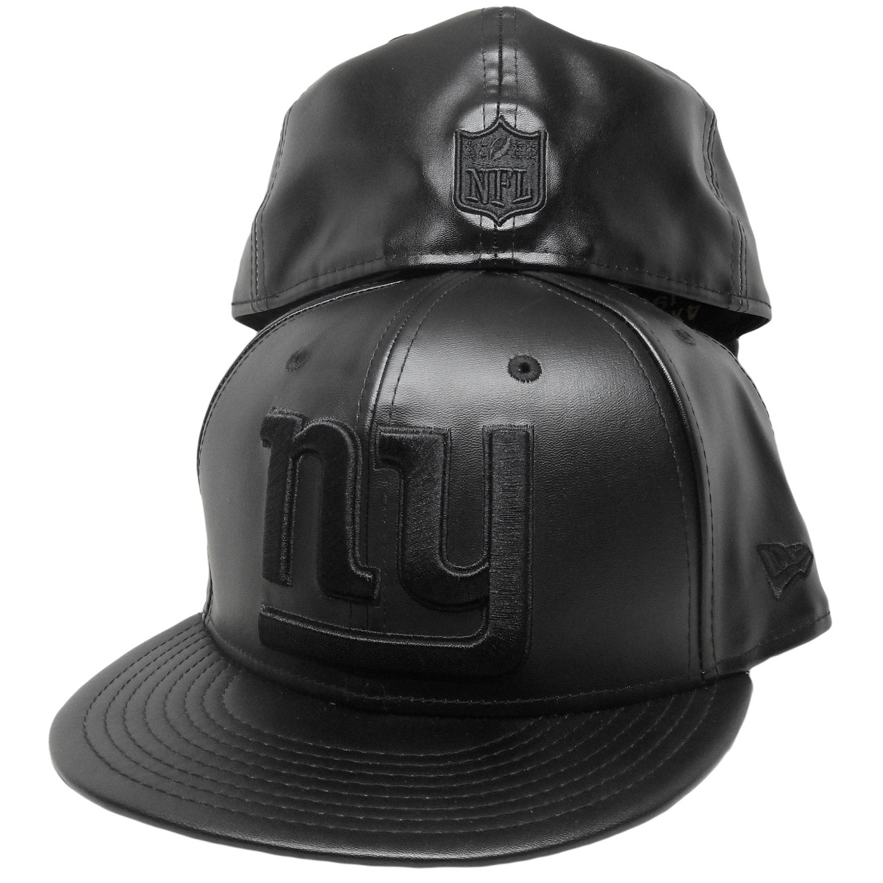 b9f8f96a1 New York Giants New Era Team Triumph 59Fifty Fitted - All Black Leather -  ECapsUnlimited.com