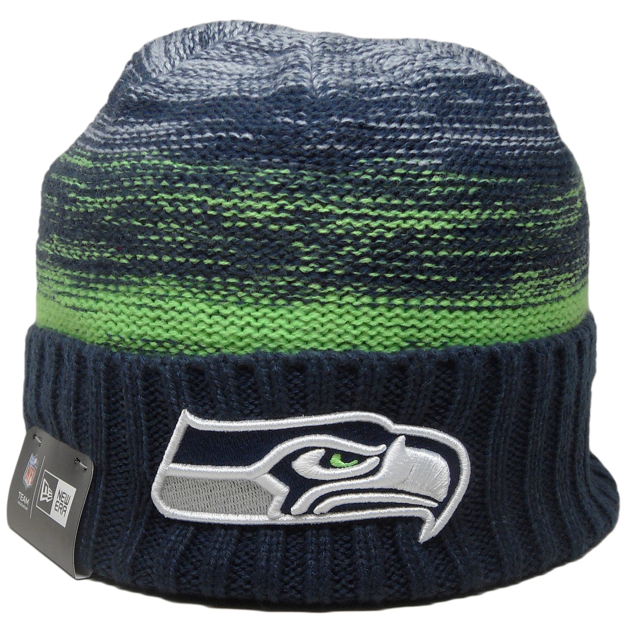 info for 5e963 647a6 Seattle Seahawks New Era Team Snug Knit Hat - Navy, Lime Green, White -  ECapsUnlimited.com