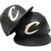 Cleveland Cavaliers New Era Custom 59Fifty Fitted - Black Leather, White, Gold