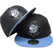 Brooklyn Nets New Era Custom 59Fifty Fitted hat - Black, Sky Blue, Gray