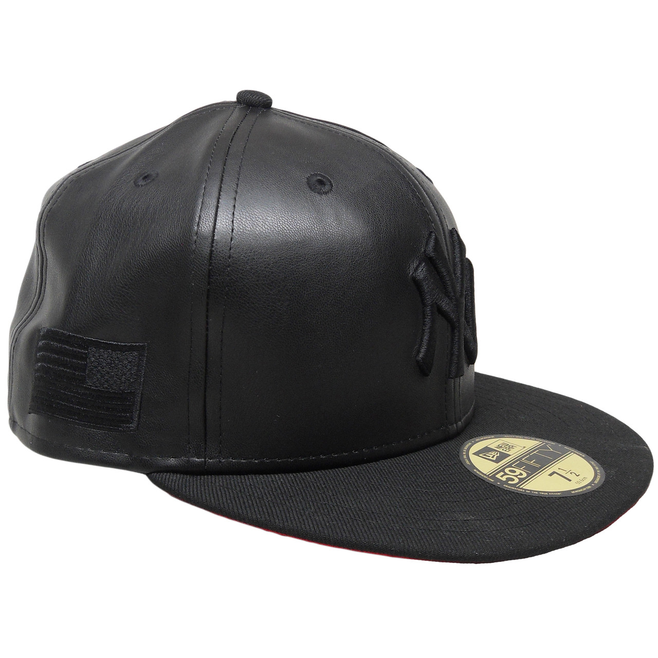 ef33e083d75 New York Yankees Custom Faux Leather New Era 59Fifty Fitted - Black ...
