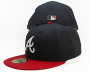 Atlanta Braves New Era 59Fifty Fitted Hat - Navy Blue, Red, White