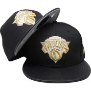 New York Knicks New Era Custom 59Fifty Fitted - Black, Black Leather, Gold