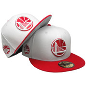 Golden State Warriors New Era custom 59Fifty Fitted Hat - White, Red