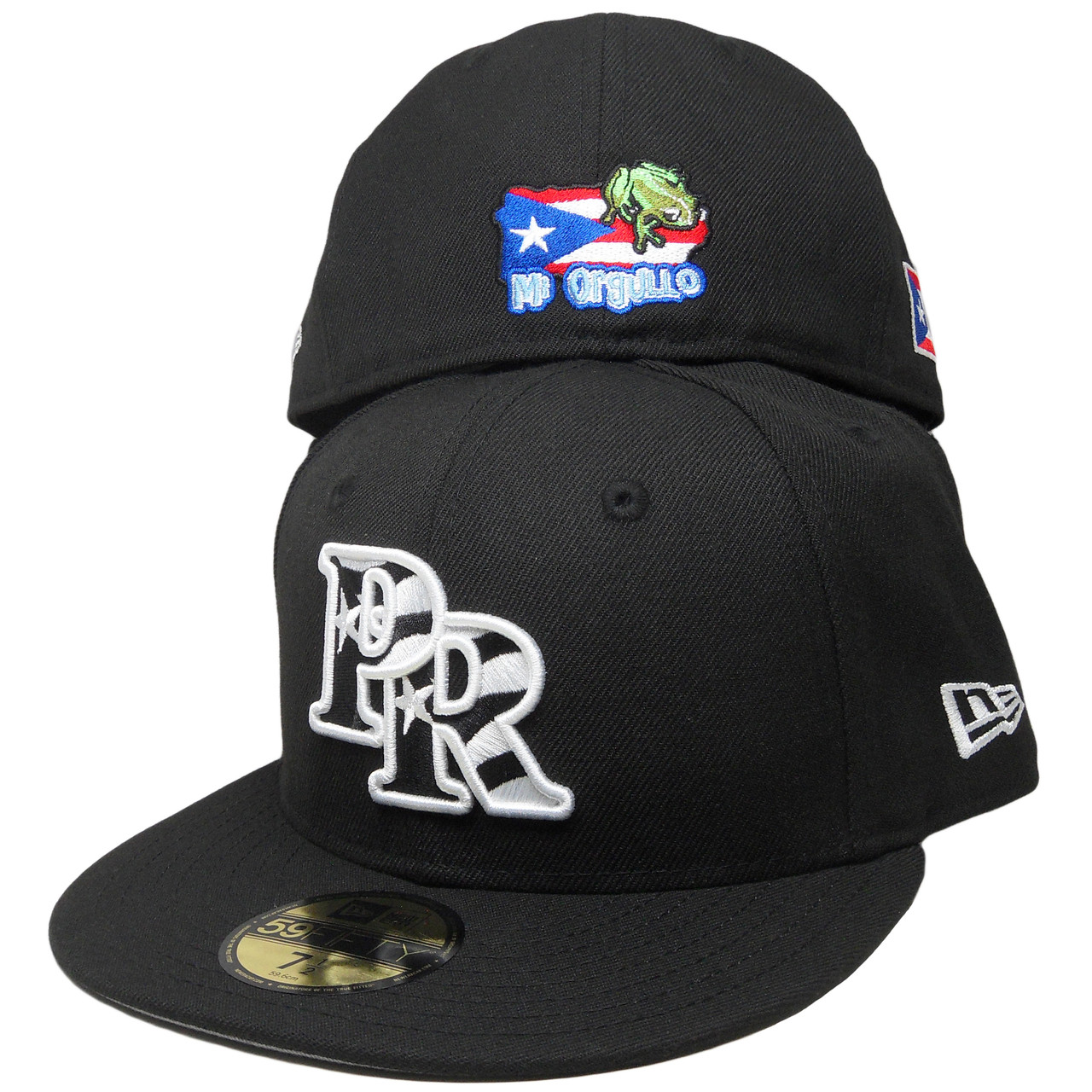7159e974ee372 coupon code for puerto rico new era custom flag logo 59fifty fitted black  white red royal